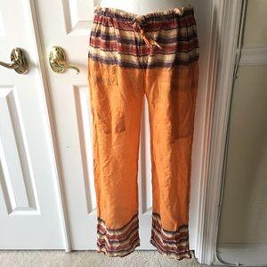 Indian hippie orange gold striped lounge pants